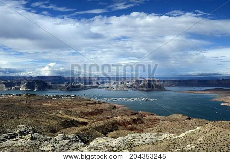 Lake Powell scenic view landscape in USA