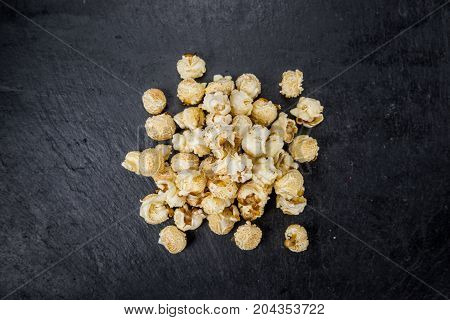 Portion Of Popcorn On A Slate Slab