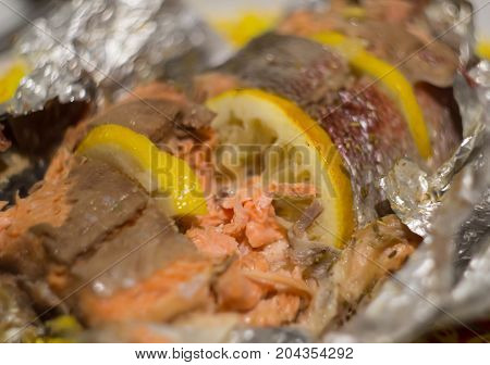 The baked trout with lemon on foil