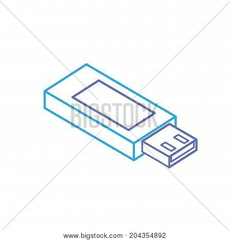 line data usb memory to save documents vector illustration