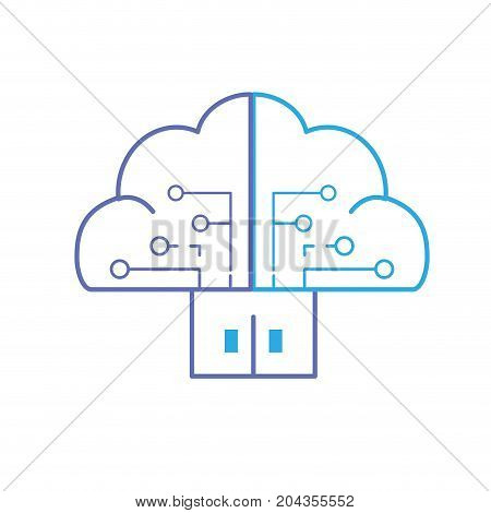 line brain cloud data with circuits and door connection vector illustration