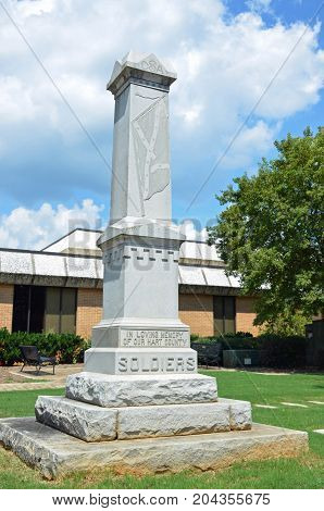 HARTWELL, GA - August 23 2017 A monument on the grounds of Hart County Courthouse provides a memorial to the Confederate Soldiers of the Civil War.