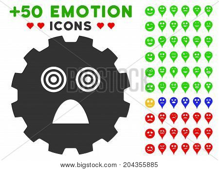 Afraid Smiley Gear icon with bonus mood clip art. Vector illustration style is flat iconic symbols for web design, app user interfaces.