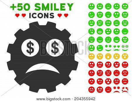 Bankrupt Smiley Gear icon with bonus avatar pictograms. Vector illustration style is flat iconic elements for web design, app user interfaces.