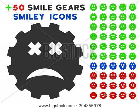 Blind Smiley Gear pictograph with bonus emoticon icon set. Vector illustration style is flat iconic symbols for web design, app user interfaces.