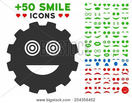 Mad Smiley Gear icon with bonus mood pictures. Vector illustration style is flat iconic symbols for web design, app user interfaces.