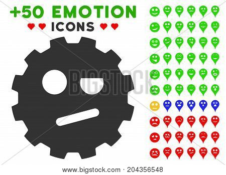 Negation Smiley Gear pictograph with bonus avatar images. Vector illustration style is flat iconic elements for web design, app user interfaces.