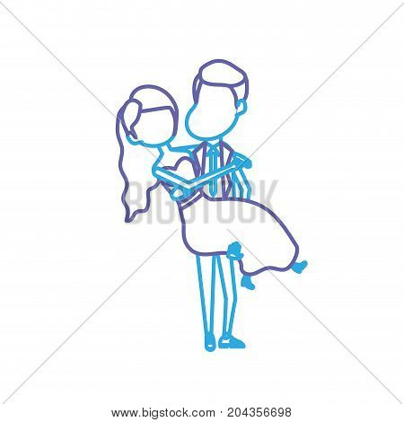 line happy couple married and man carrying his wife vector illustration