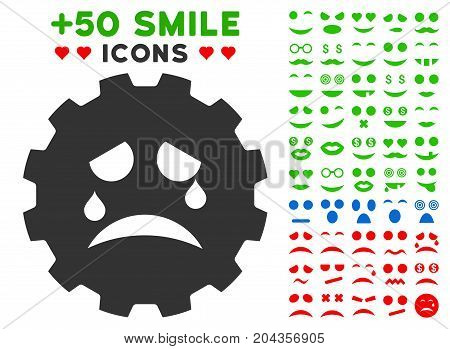 Tiers Smiley Gear pictograph with bonus smiley graphic icons. Vector illustration style is flat iconic symbols for web design, app user interfaces.