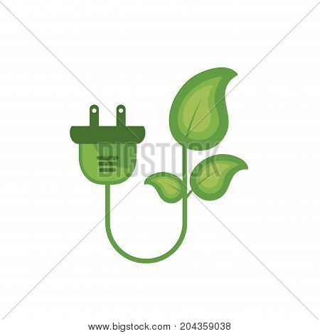 ecology power cable with natural leaves vector illustration