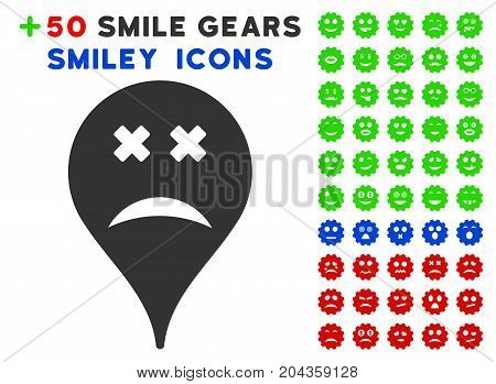 Blind Smiley Map Marker icon with bonus facial graphic icons. Vector illustration style is flat iconic symbols for web design, app user interfaces.