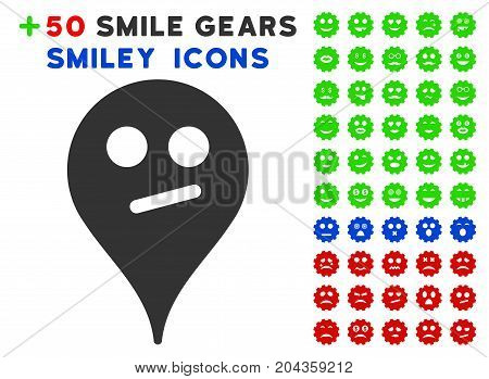 Doubt Smiley Map Marker icon with bonus smile symbols. Vector illustration style is flat iconic symbols for web design, app user interfaces.