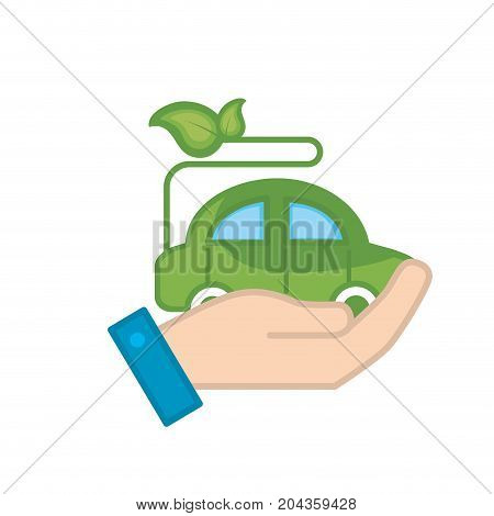 hand with ecologycal car with leaves to environment care vector illustration
