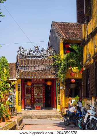 Hoian, Vietnam - November 05, 2016: Old houses in Hoi An ancient town, UNESCO world heritage. Hoi An is one of the most popular destinations in Vietnam.
