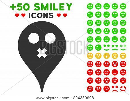 Silence Smiley Map Marker pictograph with bonus smiley pictures. Vector illustration style is flat iconic symbols for web design, app user interfaces.