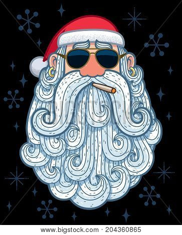 Cartoon portrait of a cool Santa Claus.