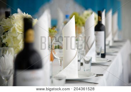 Exquisite festive table with dishes for the customers. The restaurant business in the interior. A row of stand-up napkins.