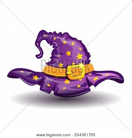 Cartoon witch hat isolated on white background element of wizard costume. Vector illustration.