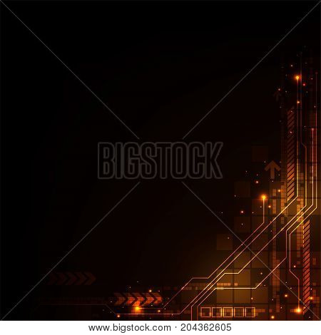 Electronic circuit of the future on a dark orange background.
