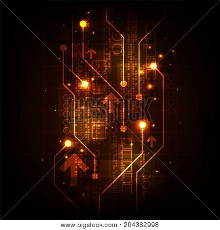 Vector of electronic information on a dark orange background.