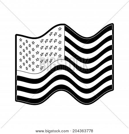 flag united states of america waving in monochrome silhouette vector illustration