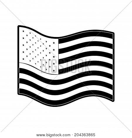 flag united states of america wave side in monochrome silhouette vector illustration