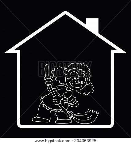 Representation of home spring cleaning isolated on black background