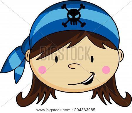 Cute Cartoon Buccaneer Pirate Wearing Bandana Illustration