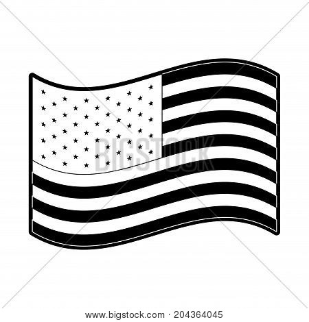 flag united states of america waving design in monochrome silhouette vector illustration