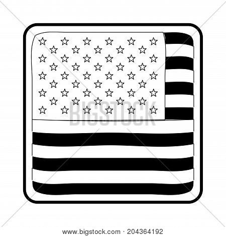 shield in square shape with flag united states of america in monochrome silhouette vector illustration