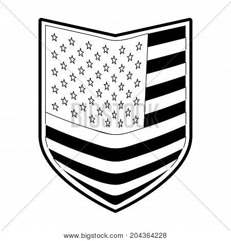 shield of flag united states of america in monochrome silhouette vector illustration