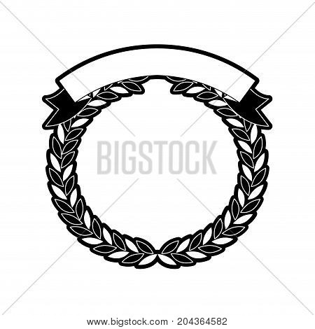 olive branches forming a circle with ribbon thick on top in monochrome silhouette vector illustration