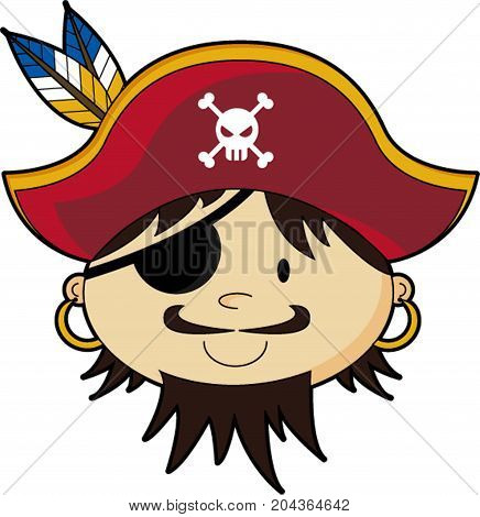 Cute Cartoon Buccaneer Pirate with Eyepatch Illustration
