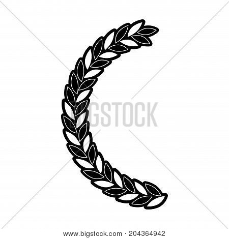 olive branch half bow in monochrome silhouette vector illustration