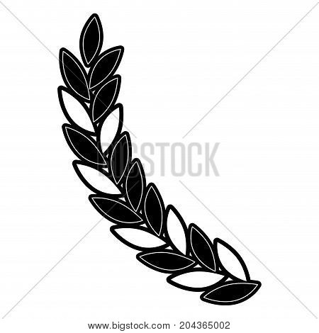 olive branch ramification in monochrome silhouette vector illustration