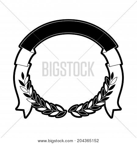 olive branches with ribbon on top in monochrome silhouette vector illustration