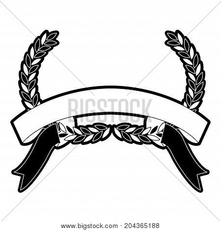 olive branches bow and ribbon on bottom in monochrome silhouette vector illustration
