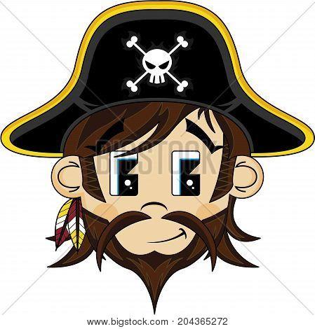 Cute Cartoon Bearded Buccaneer Pirate Captain Illustration