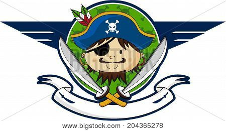 Cute Cartoon Eyepatch Pirate Captain with Swords Illustration