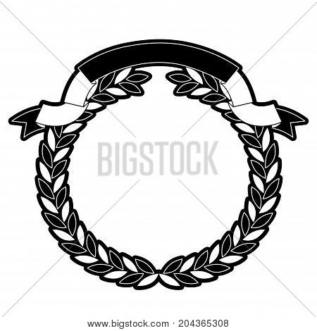 olive branches crown and ribbon on top in monochrome silhouette vector illustration