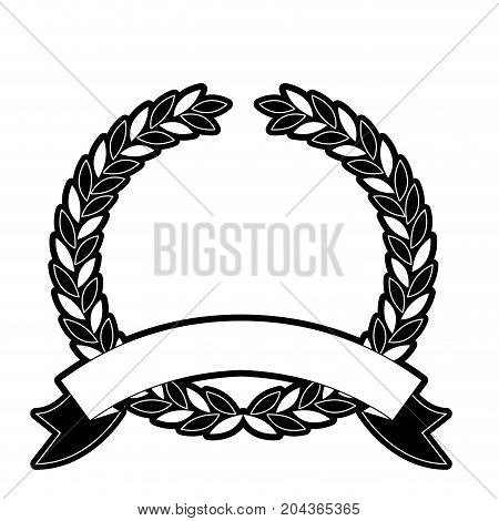 olive branches crown and ribbon on bottom in monochrome silhouette vector illustration