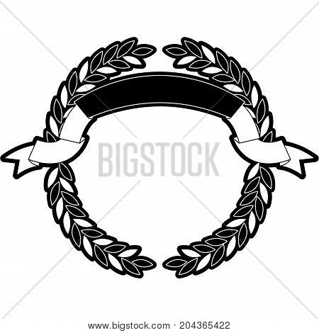 olive branches forming a circle with ribbon on top in monochrome silhouette vector illustration