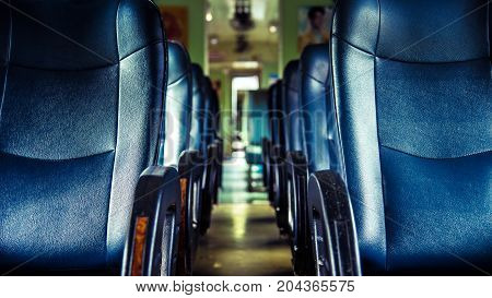 Inside Of Railway Train With Seats Vintage Style