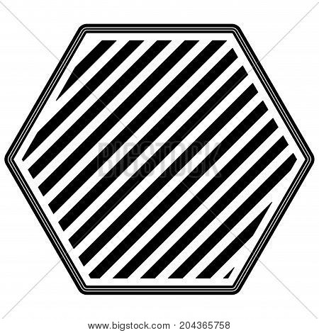 hexagon emblem striped in monochrome silhouette vector illustration