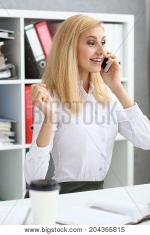 Beautiful Blonde Smiling Businesswoman Talk Cellphone
