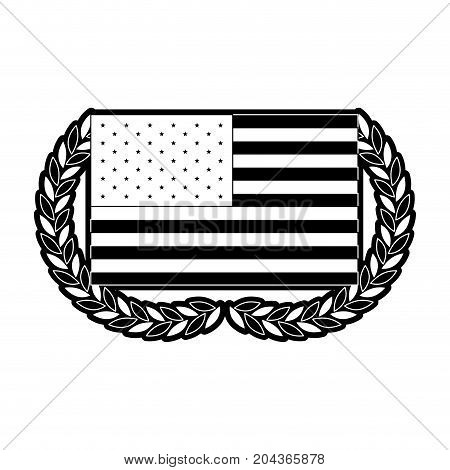 united states flag with double half crown of olive branches in monochrome silhouette vector illustration