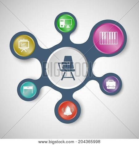 Classroom infographic templates with connected metaballs, stock vector