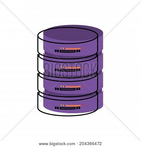 server hosting storage in watercolor silhouette vector illustration