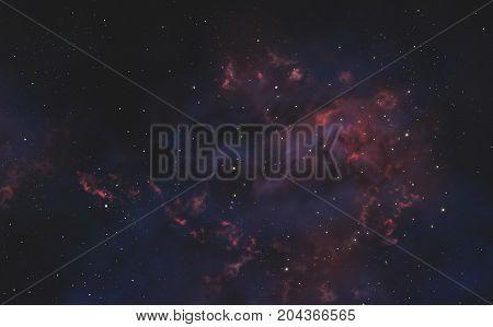 Galaxy with Purple - Orange Nebula. Universe Filled With Stars.