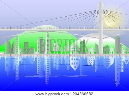 Cityscape of Buildings and suspension bridges paper style with mountains and moon backgroundreflection of buildings in rivervector illustration.
